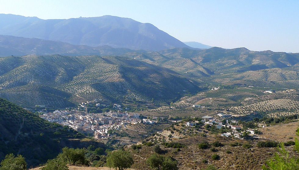 The village of Algarinejo amid typical Poniente countryside