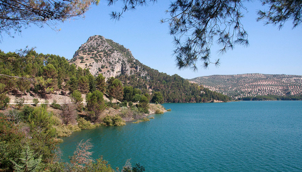 The Embalse de Iznájar, known as the Lake of Andalucía