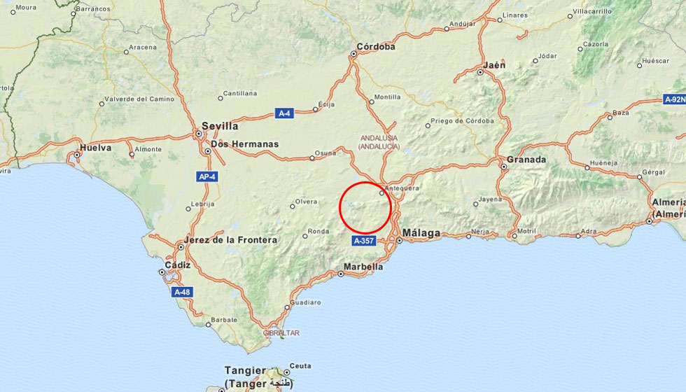 around antequera map of spain showing the antequera region